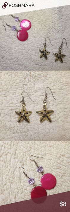 """*FREE W ANY PURCHASE!!* 2 pairs of earrings! The dangling star earrings, have a worn gold/silver vintage look and hang 2""""... The pink circles are shiny and pearly and have a little purple Stone above them, they are like new but one circle is chipped see pics ** Adorable Punk Rock Style! DD TO BUNDLE WITH YOUR CHOICE OF ITEM AND I WILL SEND YOU A DISCOUNT OFFER WITH THE EARRINGS PRICE NOT INCLUDED!! Jewelry Earrings"""