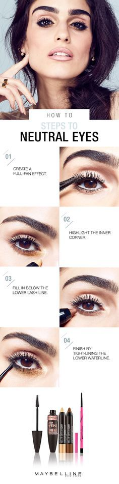 Don't cover up when you were born to flaunt. Go soft, but make a big impact. Add an edge with the volumizing Maybelline Lash Sensational Luscious mascara. You'll love this new formula, infused with precious oils for softer, denser lashes. Add a pop of color with Color Tattoo Concentrated Crayon in 'Gold Rush' to the inner corner and 'Creamy Chocolate' right below the lashline. Next, draw along the lower lashline with Master Precise Skinny Gel Pencil. This spring, embrace this neutral eye…