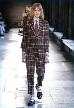 Gucci has a mod style moment with plaid suiting from its cruise 2017 collection.