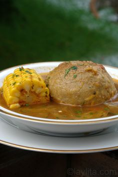Caldo de bolas de verde or green plantain dumpling soup recipe, LOVE THIS SOUP! Mother-in-law makes this & is delicious. Plantain Soup, Plantain Recipes, Kitchen Recipes, Soup Recipes, Vegetarian Recipes, Healthy Recipes, Comida Latina, Easy Cooking, Cooking Recipes