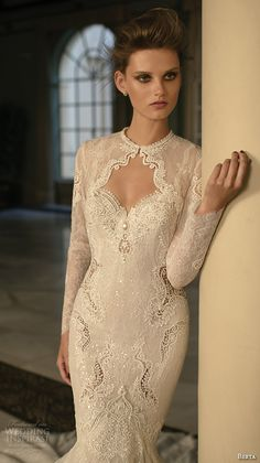 berta fall 2016 bridal long sleeves jewel neckline lace jacket sweetheart neckline beautiful mermaid wedding dress