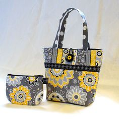 Girls Purse and Coin Purse Set Mod Floral Polka Dot Fabric Mini Tote Bag Childs Purse Kids Purse Gray Yellow Black White MTO. $27.50, via Etsy.