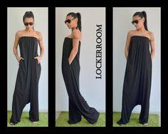 Black maxi bustier Jumpsuit/ Black bustier by ClothesByLockerRoom