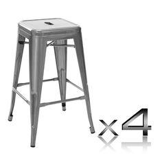 """Phillipa"" Replica Tolix Kitchen Counter Stool 66cm in Metallic (Set o – Simply…"