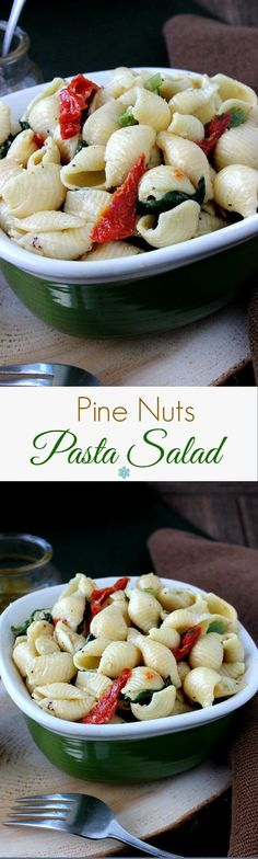 Pine Nuts Pasta Salad is popular, flavorful and easy. Great for a side dish or picnicking. Toasted Pine Nuts are readily available and this vinaigrette takes it over the top.