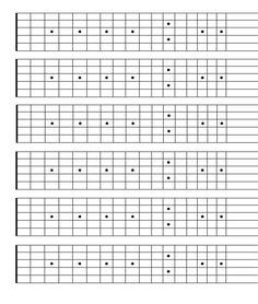 Blank Neck Diagram 06x12 - Blank Fretboard. 6 Blocks with ...