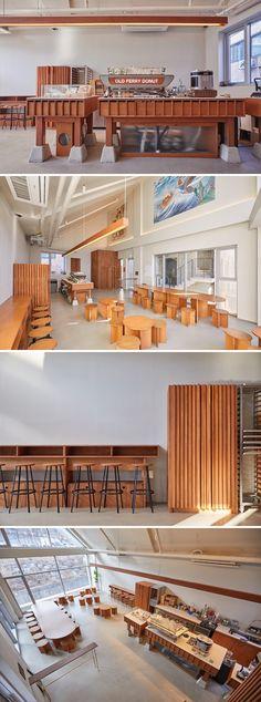[No.437 올드페리도넛] 원목 제작가구들로 포인트를 준 거대한 빈티지 크루즈 컨셉의 신축상가 22평 도넛 디저트 카페인테리어 Cafe interior design concept Cafe Interior Design, Cafe Design, Meat Shop, Cafe Shop, Wood Interiors, Grey And Beige, Cafe Restaurant, Architecture Design, Furniture Design
