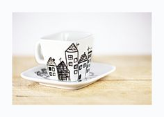 Hand Painted Porcelain Espresso Cup and Saucer White ceramic hand painted cup Black minimalist modern kitchen decor Sharpie Art Projects, Sharpie Mug Designs, Sharpie Crafts, Ceramic Clay, Ceramic Painting, Ceramic Plates, Diy Painting, Hand Painted Mugs, Painted Cups