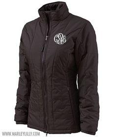 Monogrammed Black Quilted Jacket