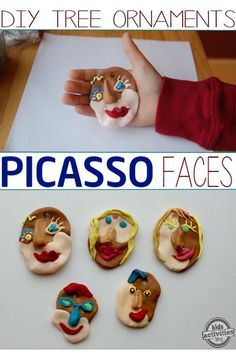 kids art activity:  Picasso Inspired Christmas Tree Ornaments - made by kids and for kids