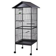 """JAXPETY Bird Cage 61"""" Large Parrot Iron Play Top Pet Supplies w/Perch Stand Finch"""