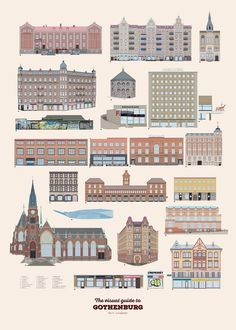 The visual guide to Gothenburg - Part II Linnéstaden - via Pop-in Local graphics Gothenburg, Digital Illustration, Illustrations Posters, Sweden, Multi Story Building, Villa, Pop, Paintings, Sketches