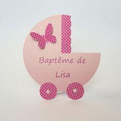 Faire-part landau baptême fille rose avec un papillon fait main