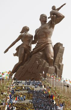 "The 160 ft (49 m) tall African Renaissance Monument, a bronze statue outside of Dakar, Senegal, designed by the Senegalese Pierre Goudiaby, constructed by the North Korea-based Mansudae Overseas Projects between 2008 and 2010. (from ""These Mega-Sculptures Are the Biggest in the World"")"