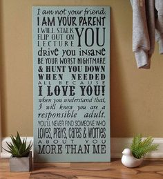 A Parents Promise large typography wall sign hanging shelf
