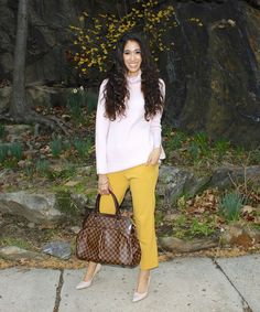 Cheerful - The Style Contour   how to wear yellow, how to style yellow, yellow and pink outfit idea, blush pink trend, yellow, spring outfit idea, Louis Vuitton Trevi purse, spring 2016 wear to work, spring work outfit idea