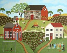 Life in the Country 2 Folk Art by Mary Charles