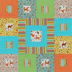 Build blocks in two sizes for a kid's quilt that comes together easily. Fussy-cut block centers, bright prints, and standout stripes add playful style.