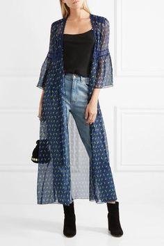 Anna Sui - Lace-trimmed Floral-print Silk-blend Crepon Kimono Jacket - Blue - US12