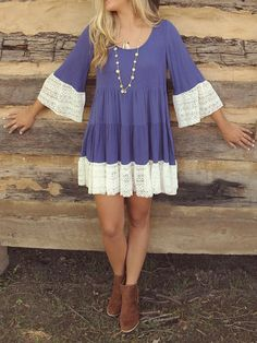 Blue Violet Lace Detail 3/4 Sleeve Pleated Dress