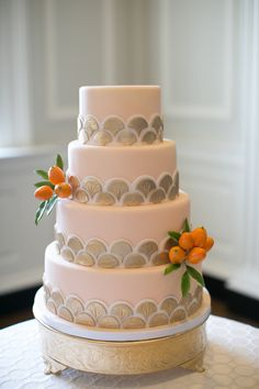 Peach and gold: http://www.stylemepretty.com/2015/06/14/wedding-cakes-almost-too-pretty-to-eat/
