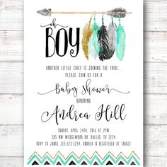 Tee Pee Aztec Tribal Southwest Baby Shower Invitation Boy, Baby Shower Invite, Mint and Gold, Mint Feathers, Arrows, Baby Sprinkle [13]
