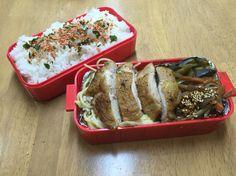 ナノカのお弁当( ̄(エ) ̄)v カンパチとキャベツのパスタ、かしわの柔らか焼き、ナスカレー、きんぴらゴボウ