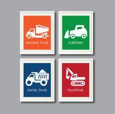 Construction Site Art Print Set of Four 8x10-Nursery, Kids Room, Playroom-Blue, Orange, Green, Red, White OR Choose Color-Modern
