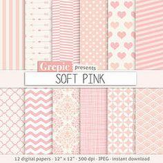"Pink digital paper: ""SOFT PINK"" light pink digital paper with girly chevron, polkadots, stripes, dots, arrows, damask, quatrefoil, hearts (workyourart) Tags: pink light baby girl digital paper soft girly pastel patterns polkadots backgrounds chevron damask"