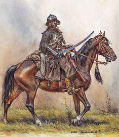 Anatoly F Telenik - Wczesny husarz - AD 1610 High Fantasy, Medieval Fantasy, Military Art, Military History, Historical Art, Fantasy Inspiration, Renaissance, Illustrations, Images