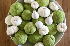 Hedge Apples (keep the spiders away) & white pumpkins! via Life Made Lovely Apple Centerpieces, Hedge Apples, My Old Kentucky Home, White Pumpkins, Fall Table, Christmas Love, Fall Harvest, Fall Crafts