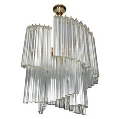 1970s Chandeliers With 89 Tridri In Murano Glass.
