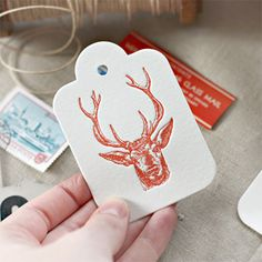 Letterpress gift tag - Steer Head // Blush Pink