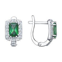 Серьги из серебра с зелеными фианитами арт. 94021581