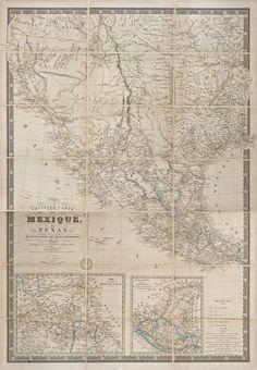 The Antiquarium - Antique Print & Map Gallery - H. Brue - Nouvelle Carte du Mexique du Texas Hand-colored steel engraving