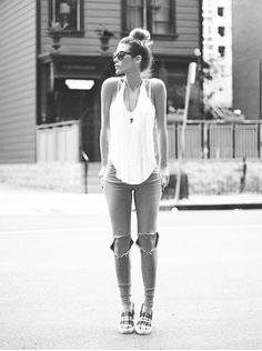 Casual ripped jeans and tank