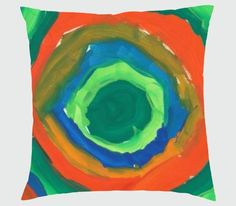 Customised cushion with child's circle painting. An ideal gift.