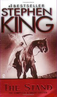 Stephen King - The Stand. A biological weapon inflicts a virus on the world, killing the vast majority of humans. The few remaining survivors journey cross-country, and camps of good and evil are established. The book is divided into three parts – the virus which is called Captain Trips, the journeys and the final confrontation of good and evil.