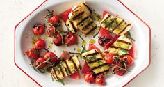 20. Grilled Halloumi with Watermelon and Basil-Mint Oil