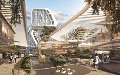 Image 4 of 17 from gallery of UNStudio Designs a Smart Karle Town Center Masterplan for Bangalore, India. Photograph by UNStudio Urban Heat Island, Passive Design, Commercial Street, Green Environment, Sky Garden, Smart City, Urban Life, Brand Building, Futuristic Architecture