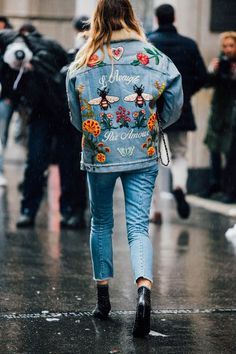 Here we have a gucci jean jacket piece which spiraled a huge trend for not men and women to embroider and customize their own pieces. Especially popular have been animal and floral patch embroidery with writing. Markus S