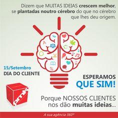 Dizem que MUITAS IDEIAS crescem melhor, se plantadas noutro cérebro do que no cérebro que lhes deu origem. ESPERAMOS QUE SIM! Porque NOSSOS CLIENTES nos dão muitas ideias...  15 DE SETEMBRO DIA DO CLIENTE  Obrigado a todos os nossos clientes pela confiança! Prest Mark Comunicação  Fale com a PMK > 12 3862.1782 / 11 3522.3680  www.prestmark.com.br