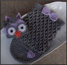 Crochet Baby Owl Hat & Cocoon
