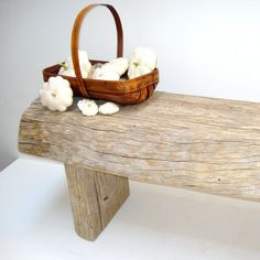 reclaimed weathered wood bench