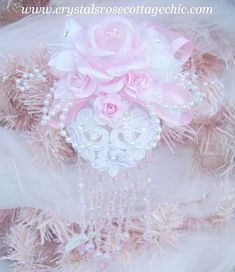 Shabby Pink Victorian Rose Ornament