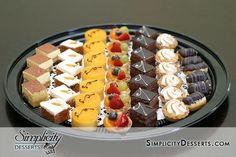 Mini Dessert Platter    Great for parties! Choose from mini chocolate cakes, carrot cakes, cream puffs, eclairs, tarts, and much more! See store for complete pricing.    Custom Cake / Wedding Cake / New Jersey / NJ Wedding / Simplicity Desserts