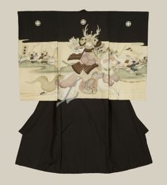 A plain silk miyamairi kimono used for christening a baby boy at a Shinto ceremony, featuring a samurai. Embroidery highlights.  Taisho Period (1912-1926), Japan.  The Kimono Gallery