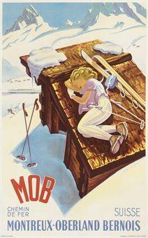 Chemins de Fer MOB (Montreux-Oberland Bernois) - Suisse/Switzerland - vintage travel poster by Martin Peikert (1901-1975), 1956