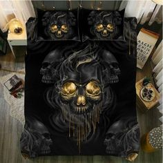 Yi chu xin skull bedding set cover queen size quilt cover with pillowcase Bedclothes bedline Home textile