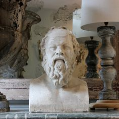 Gesso Statues and Panels - A very substantial, 19th century French plaster bust of Socrates.     Circa 1850.
